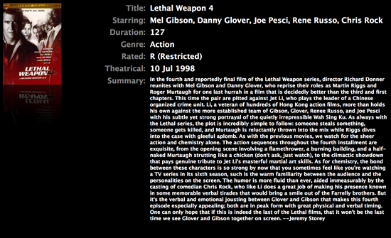 Lethal Weapon Full Screen Details